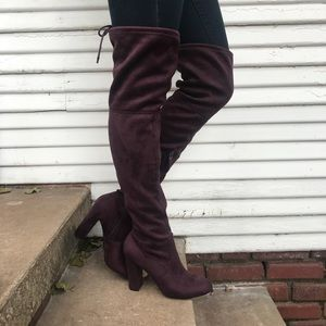 Thigh high suede boots NEVER WORN